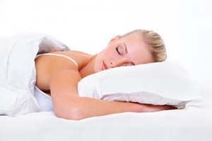 Beautiful blond young woman sleeping